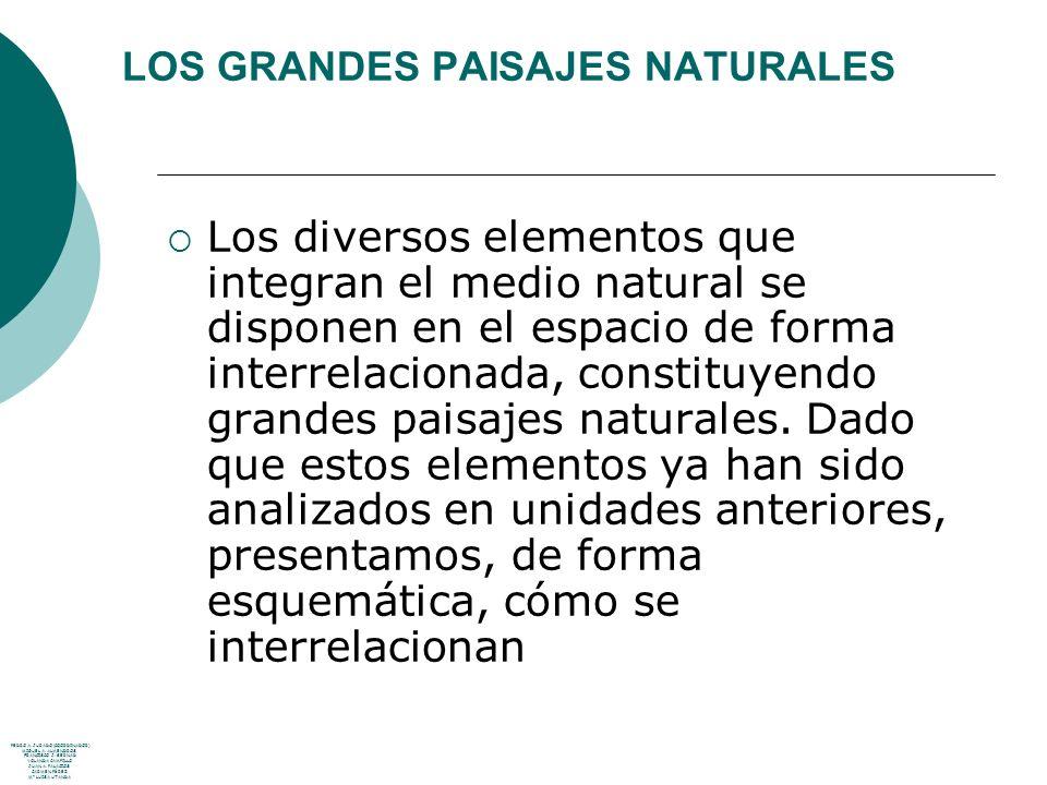 LOS GRANDES PAISAJES NATURALES Los diversos elementos que integran el medio natural se disponen en el espacio de forma interrelacionada, constituyendo