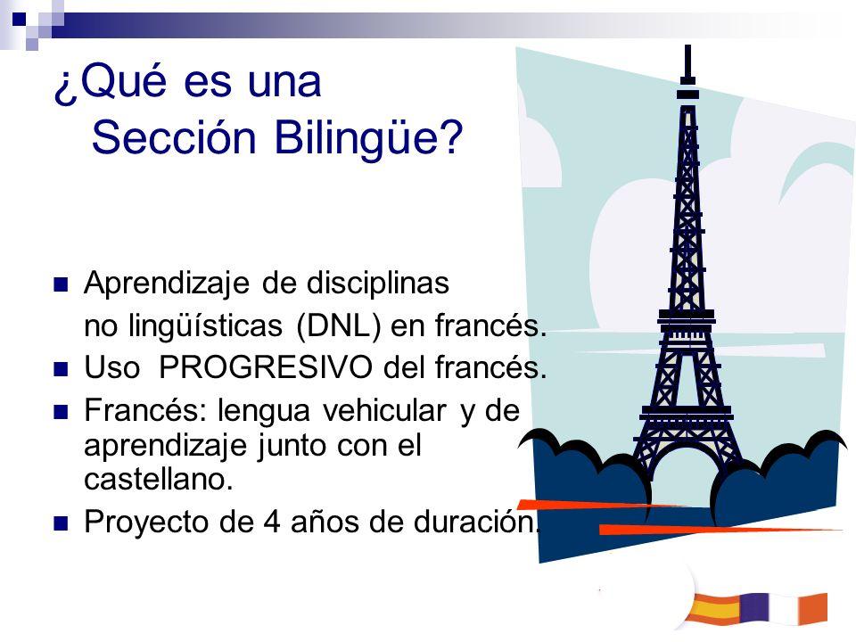 ¿Qué es una Sección Bilingüe? Aprendizaje de disciplinas no lingüísticas (DNL) en francés. Uso PROGRESIVO del francés. Francés: lengua vehicular y de