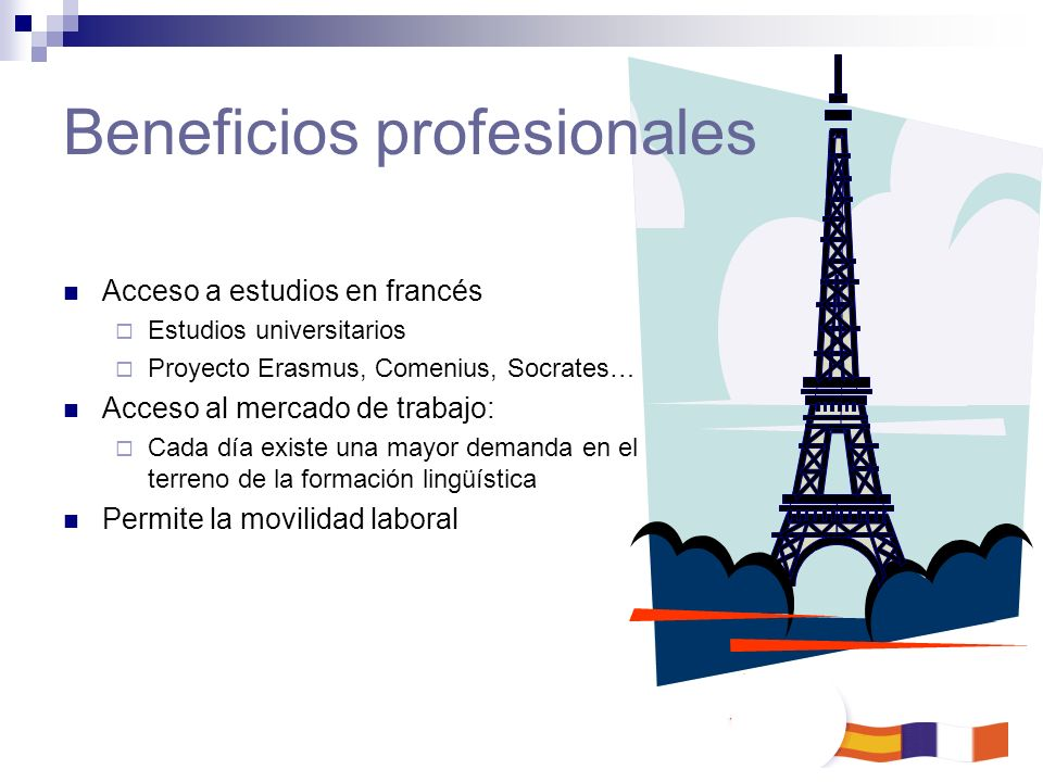 Acceso a estudios en francés Estudios universitarios Proyecto Erasmus, Comenius, Socrates… Acceso al mercado de trabajo: Cada día existe una mayor dem