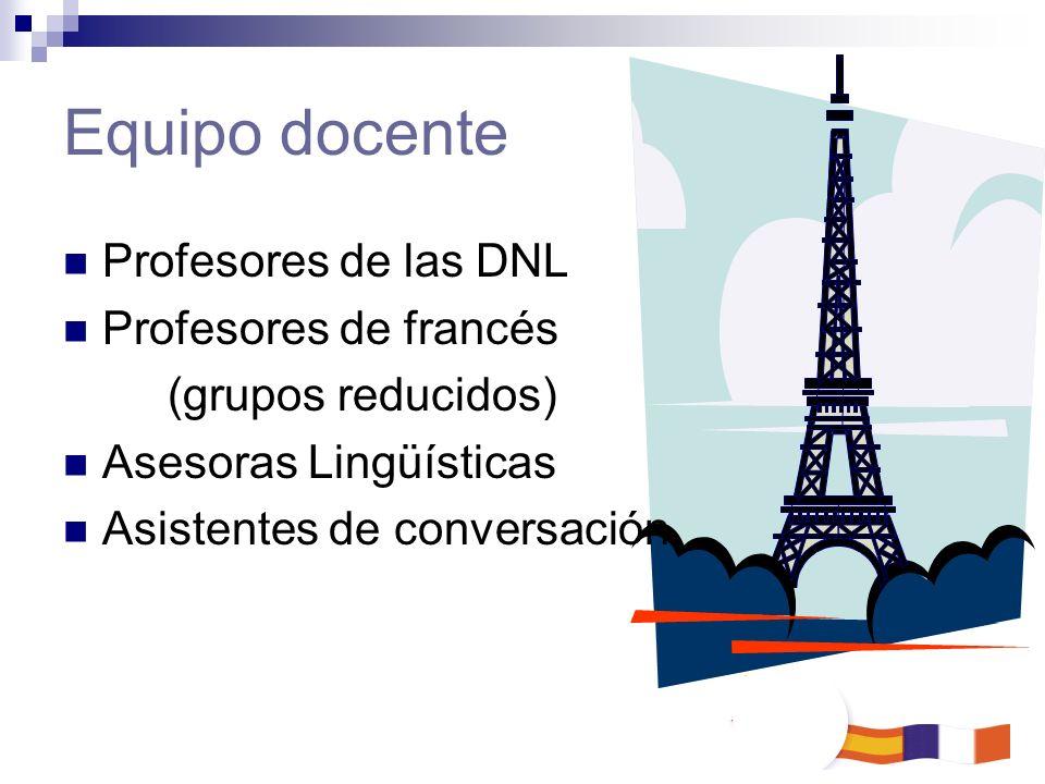 Equipo docente Profesores de las DNL Profesores de francés (grupos reducidos) Asesoras Lingüísticas Asistentes de conversación