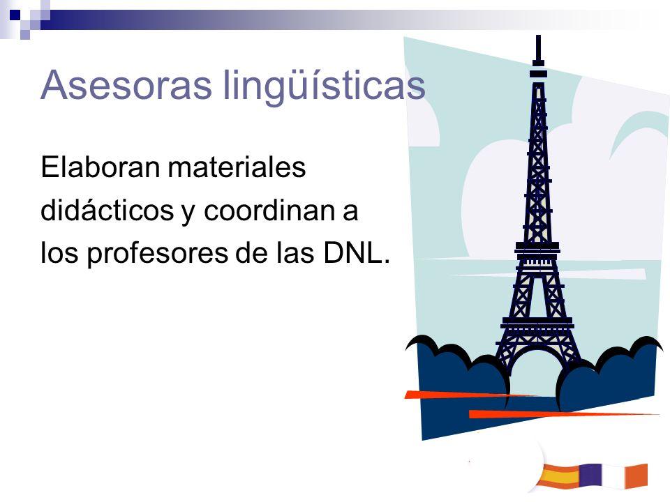 Asesoras lingüísticas Elaboran materiales didácticos y coordinan a los profesores de las DNL.