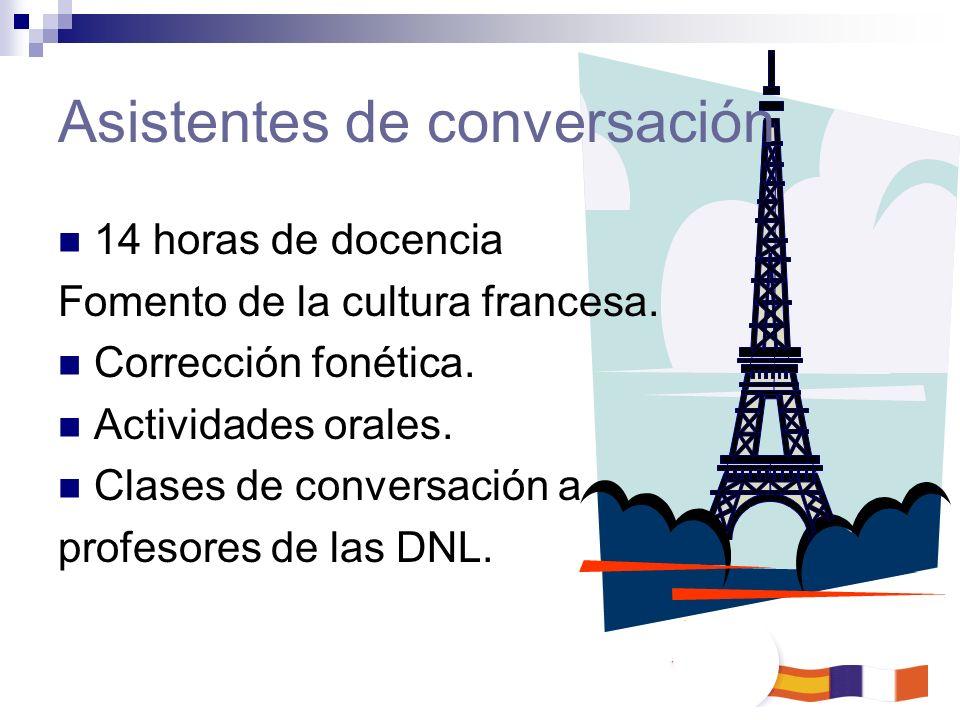 Asistentes de conversación 14 horas de docencia Fomento de la cultura francesa. Corrección fonética. Actividades orales. Clases de conversación a prof
