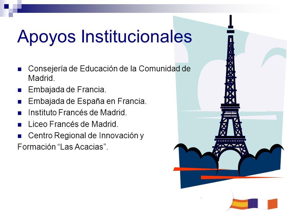 Apoyos Institucionales Consejería de Educación de la Comunidad de Madrid. Embajada de Francia. Embajada de España en Francia. Instituto Francés de Mad