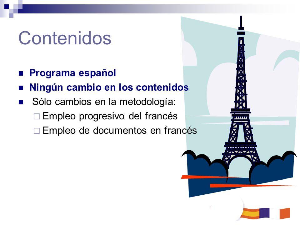 Programa español Ningún cambio en los contenidos Sólo cambios en la metodología: Empleo progresivo del francés Empleo de documentos en francés Conteni