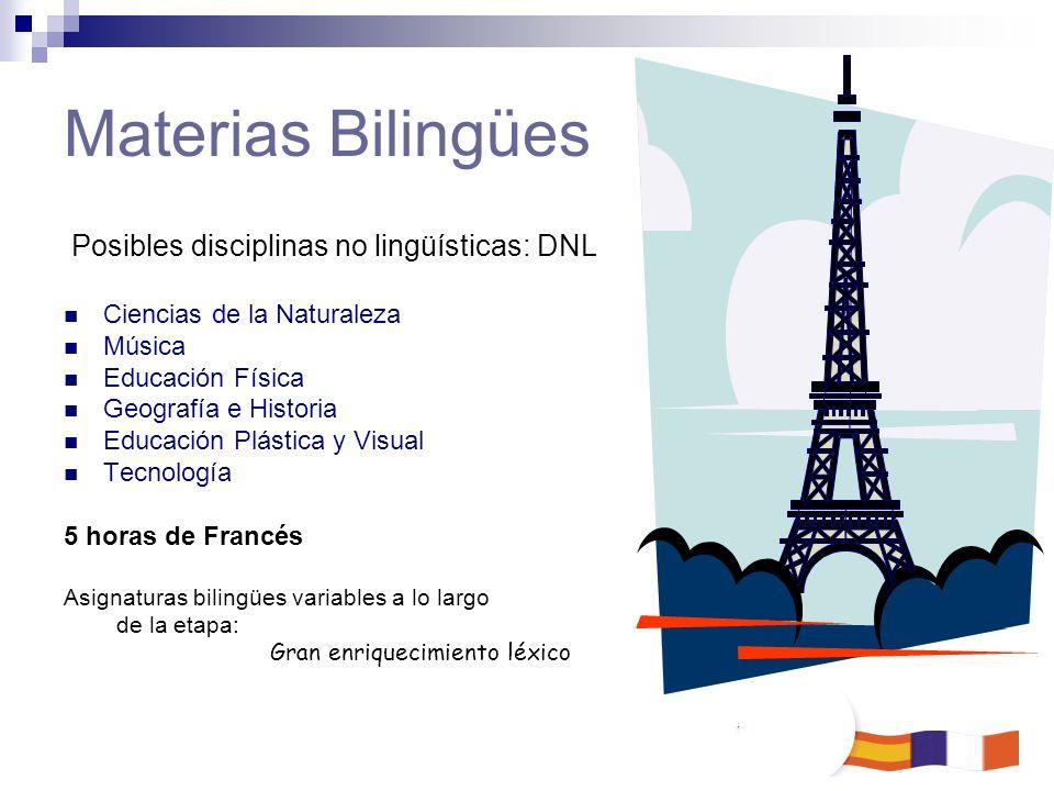 Posibles disciplinas no lingüísticas: DNL Ciencias de la Naturaleza Música Educación Física Geografía e Historia Educación Plástica y Visual Tecnologí