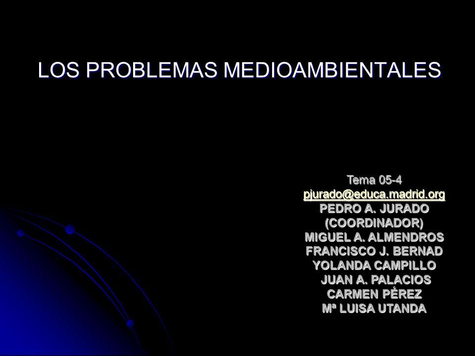 LOS PROBLEMAS MEDIOAMBIENTALES Tema 05-4 pjurado@educa.madrid.org PEDRO A. JURADO (COORDINADOR) MIGUEL A. ALMENDROS FRANCISCO J. BERNAD YOLANDA CAMPIL