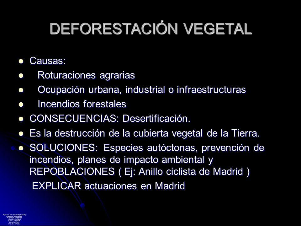 DEFORESTACIÓN VEGETAL Causas: Causas: Roturaciones agrarias Roturaciones agrarias Ocupación urbana, industrial o infraestructuras Ocupación urbana, in