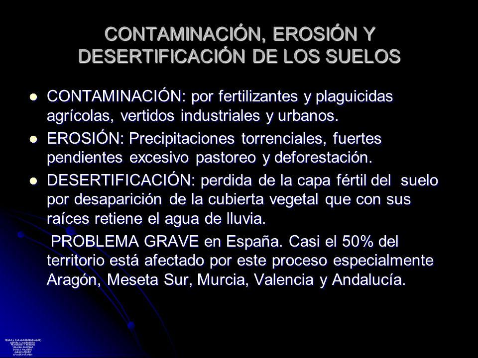 CONTAMINACIÓN, EROSIÓN Y DESERTIFICACIÓN DE LOS SUELOS CONTAMINACIÓN: por fertilizantes y plaguicidas agrícolas, vertidos industriales y urbanos. CONT