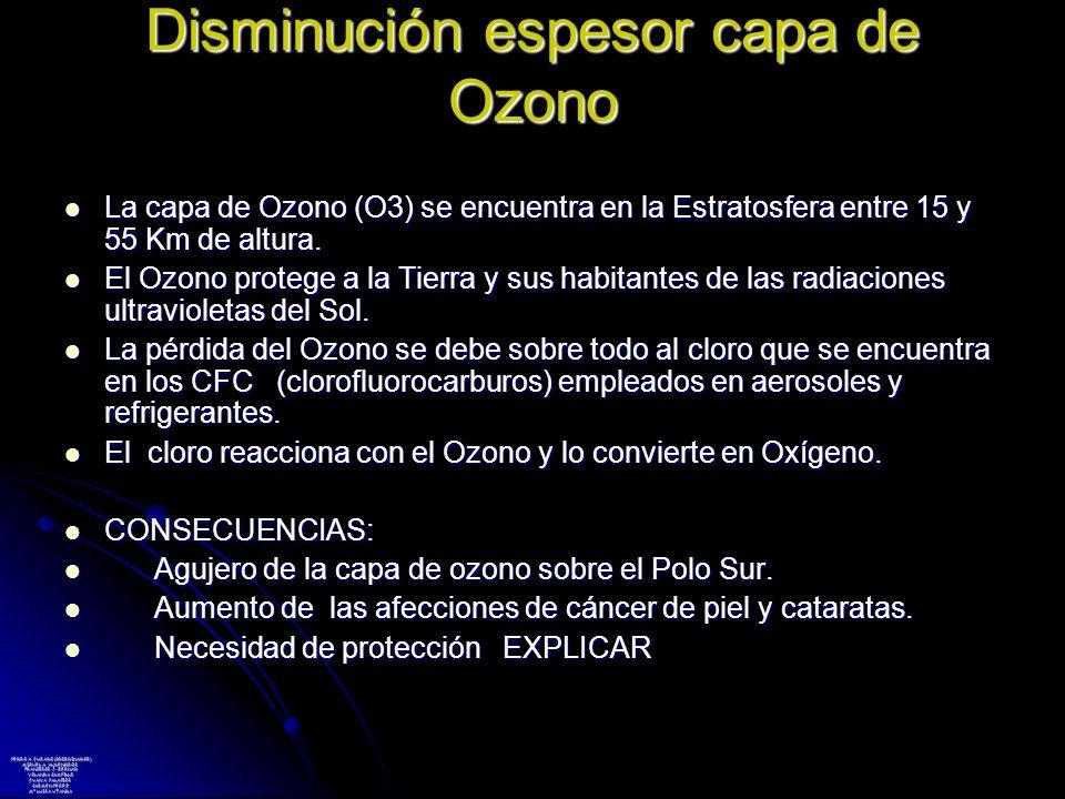 Disminución espesor capa de Ozono La capa de Ozono (O3) se encuentra en la Estratosfera entre 15 y 55 Km de altura. La capa de Ozono (O3) se encuentra