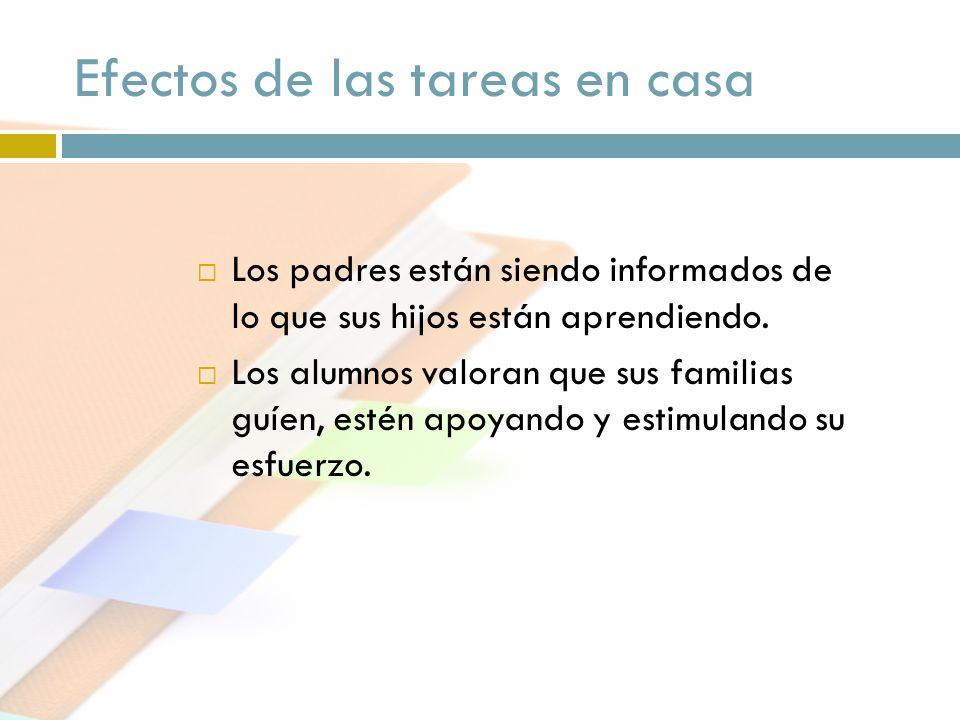 Efectos de las tareas en casa Los padres están siendo informados de lo que sus hijos están aprendiendo. Los alumnos valoran que sus familias guíen, es