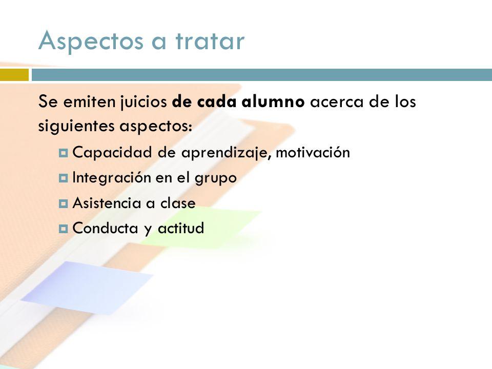 Aspectos a tratar Se emiten juicios de cada alumno acerca de los siguientes aspectos: Capacidad de aprendizaje, motivación Integración en el grupo Asi