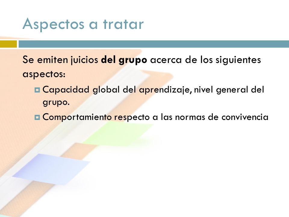 Aspectos a tratar Se emiten juicios del grupo acerca de los siguientes aspectos: Capacidad global del aprendizaje, nivel general del grupo. Comportami