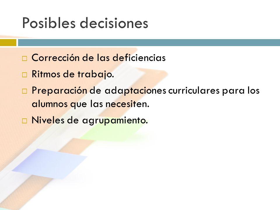Posibles decisiones Corrección de las deficiencias Ritmos de trabajo. Preparación de adaptaciones curriculares para los alumnos que las necesiten. Niv