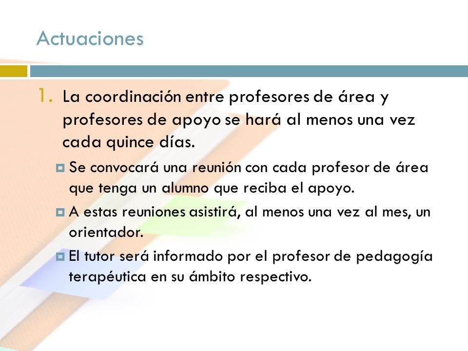 Actuaciones 1. La coordinación entre profesores de área y profesores de apoyo se hará al menos una vez cada quince días. Se convocará una reunión con