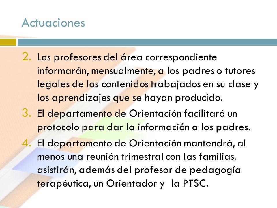 Actuaciones 2. Los profesores del área correspondiente informarán, mensualmente, a los padres o tutores legales de los contenidos trabajados en su cla