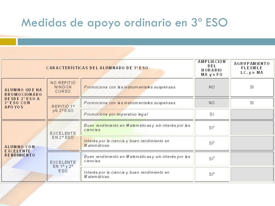Medidas de apoyo ordinario en 3º ESO
