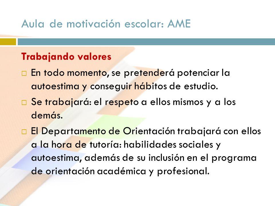 Aula de motivación escolar: AME Trabajando valores En todo momento, se pretenderá potenciar la autoestima y conseguir hábitos de estudio. Se trabajará
