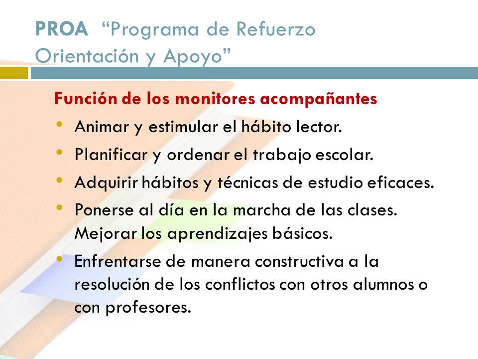 PROA Programa de Refuerzo Orientación y Apoyo Función de los monitores acompañantes Animar y estimular el hábito lector. Planificar y ordenar el traba