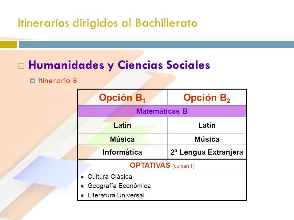 Itinerarios dirigidos al Bachillerato Humanidades y Ciencias Sociales Itinerario B Opción B 1 Opción B 2 Matemáticas B Latín Música Informática2ª Leng