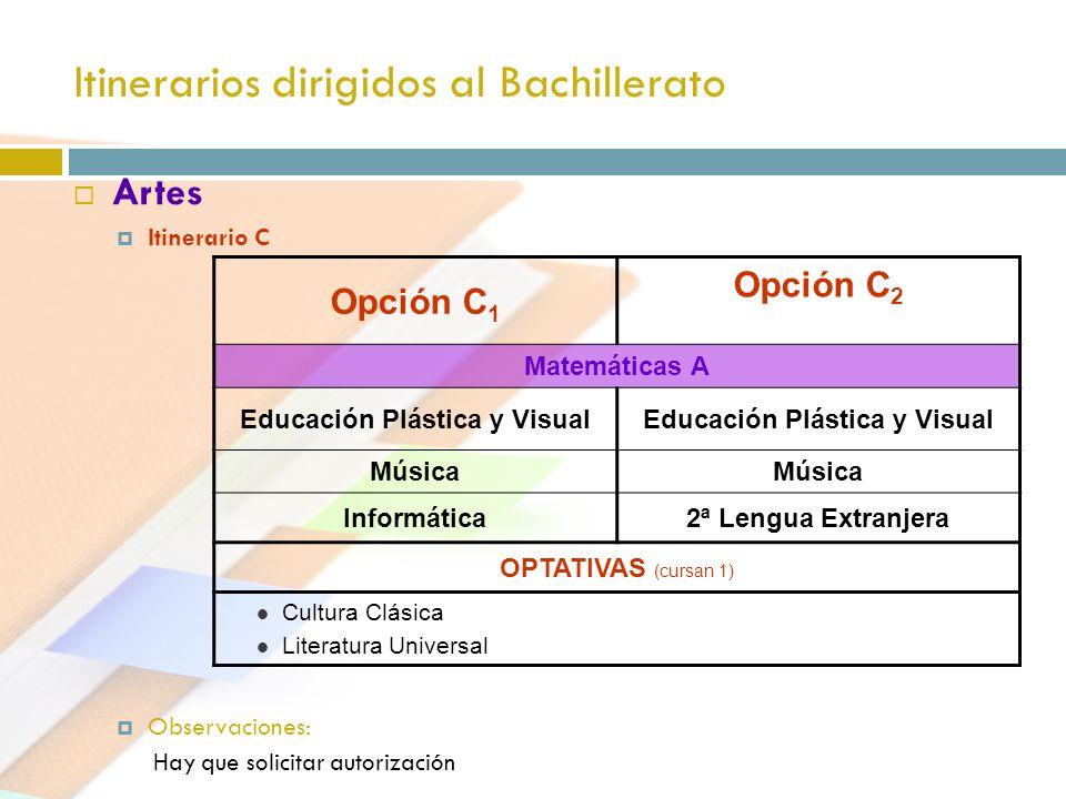 Itinerarios dirigidos al Bachillerato Artes Itinerario C Observaciones: Hay que solicitar autorización Opción C 1 Opción C 2 Matemáticas A Educación P
