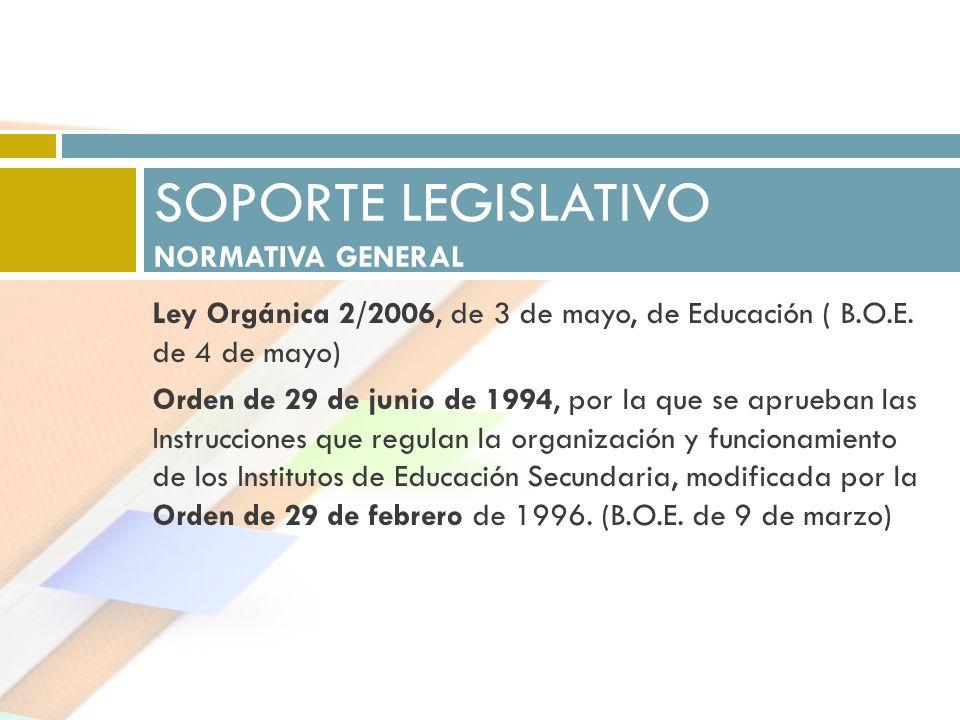 Ley Orgánica 2/2006, de 3 de mayo, de Educación ( B.O.E. de 4 de mayo) Orden de 29 de junio de 1994, por la que se aprueban las Instrucciones que regu