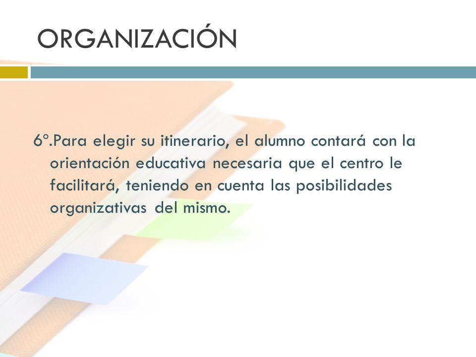 ORGANIZACIÓN 6º.Para elegir su itinerario, el alumno contará con la orientación educativa necesaria que el centro le facilitará, teniendo en cuenta la