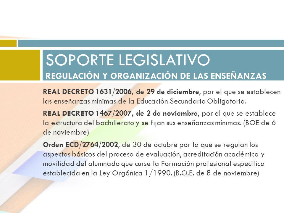 REAL DECRETO 1631/2006, de 29 de diciembre, por el que se establecen las enseñanzas mínimas de la Educación Secundaria Obligatoria. REAL DECRETO 1467/