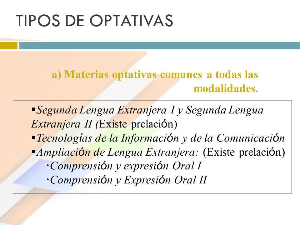 TIPOS DE OPTATIVAS a) Materias optativas comunes a todas las modalidades. Segunda Lengua Extranjera I y Segunda Lengua Extranjera II (Existe prelaci ó