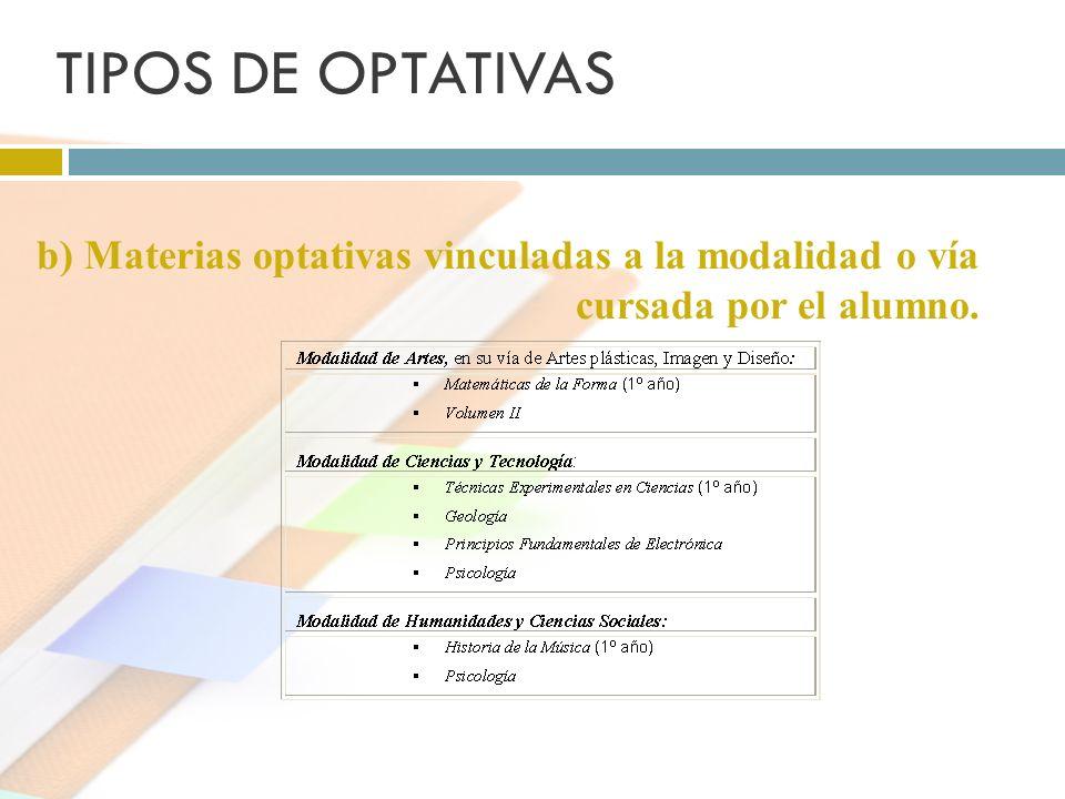 TIPOS DE OPTATIVAS b) Materias optativas vinculadas a la modalidad o vía cursada por el alumno.