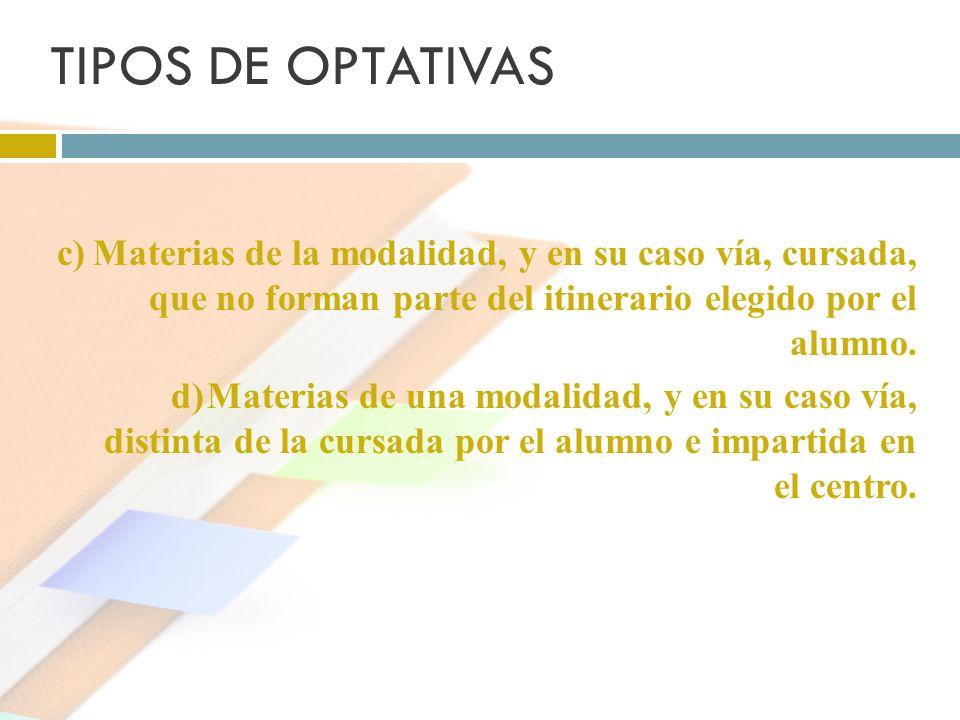 TIPOS DE OPTATIVAS c)Materias de la modalidad, y en su caso vía, cursada, que no forman parte del itinerario elegido por el alumno. d)Materias de una