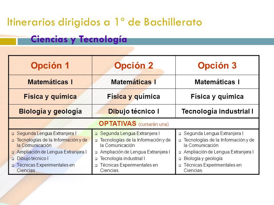 Itinerarios dirigidos a 1º de Bachillerato Ciencias y Tecnología Opción 1Opción 2Opción 3 Matemáticas I Física y química Biología y geologíaDibujo téc