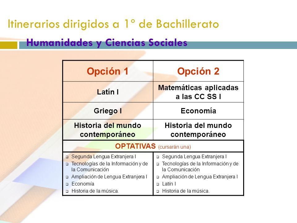 Itinerarios dirigidos a 1º de Bachillerato Humanidades y Ciencias Sociales Opción 1Opción 2 Latín I Matemáticas aplicadas a las CC SS I Griego IEconom