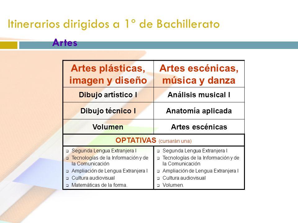Itinerarios dirigidos a 1º de Bachillerato Artes Artes plásticas, imagen y diseño Artes escénicas, música y danza Dibujo artístico IAnálisis musical I