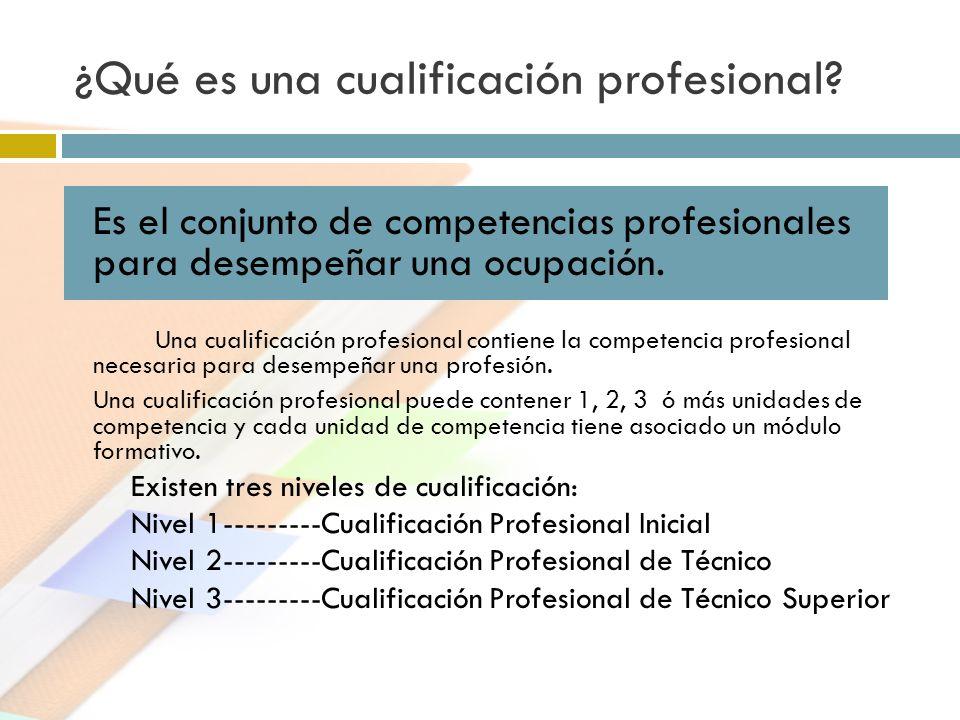 ¿Qué es una cualificación profesional? Es el conjunto de competencias profesionales para desempeñar una ocupación. Una cualificación profesional conti