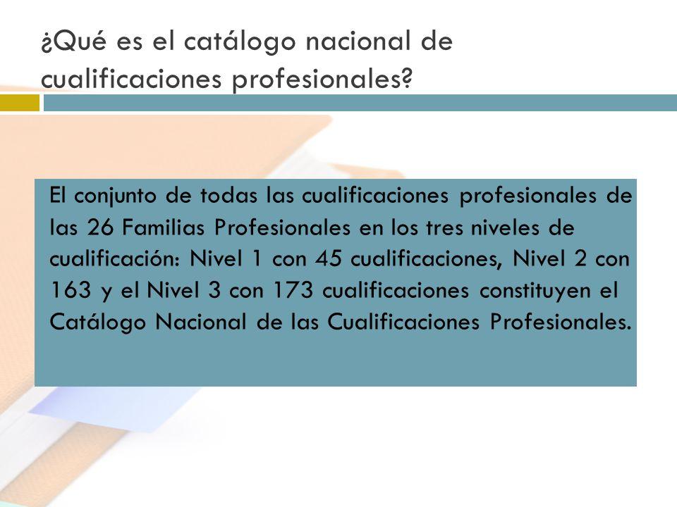¿Qué es el catálogo nacional de cualificaciones profesionales? El conjunto de todas las cualificaciones profesionales de las 26 Familias Profesionales