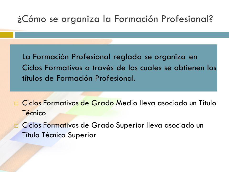 ¿Cómo se organiza la Formación Profesional? La Formación Profesional reglada se organiza en Ciclos Formativos a través de los cuales se obtienen los t