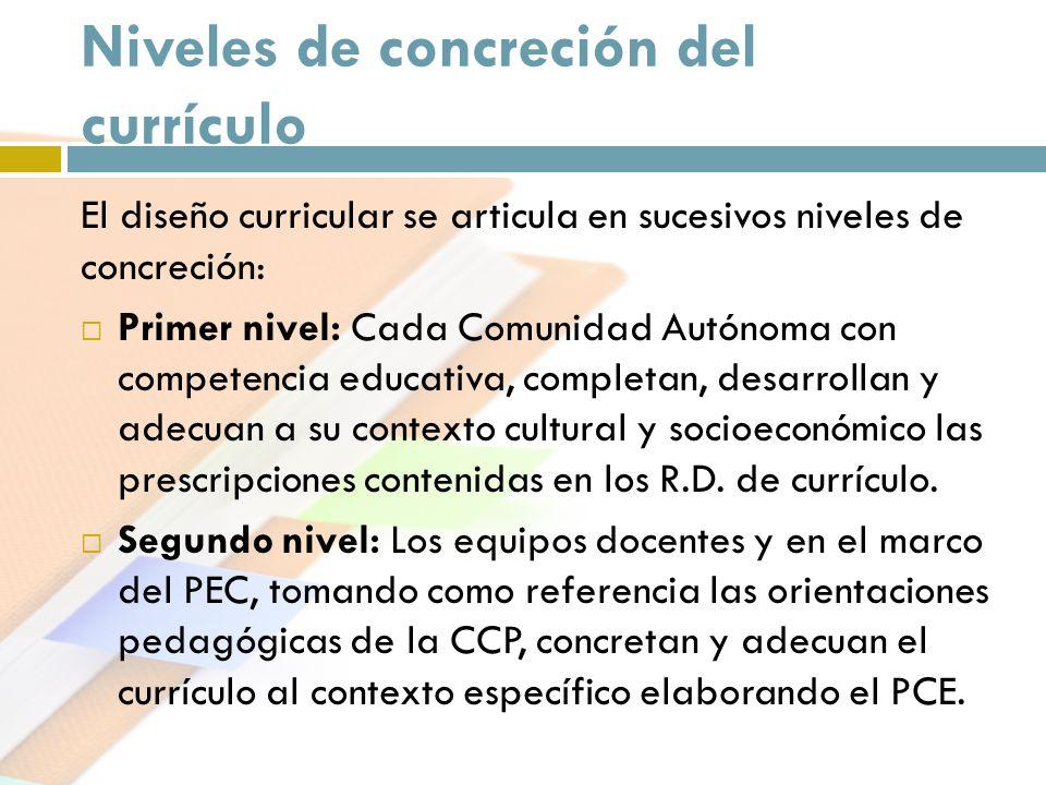 Niveles de concreción del currículo El diseño curricular se articula en sucesivos niveles de concreción: Primer nivel: Cada Comunidad Autónoma con com