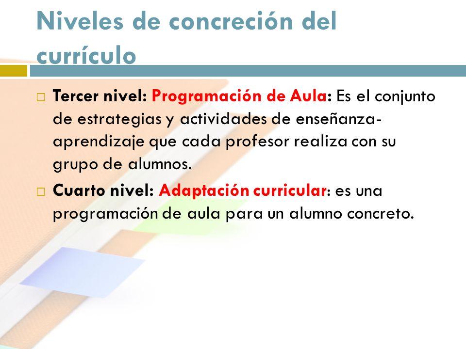 Niveles de concreción del currículo Tercer nivel: Programación de Aula: Es el conjunto de estrategias y actividades de enseñanza- aprendizaje que cada