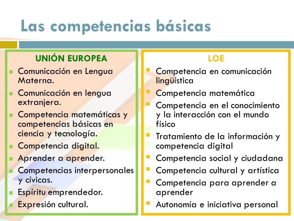 Las competencias básicas LOE Competencia en comunicación lingüística Competencia matemática Competencia en el conocimiento y la interacción con el mun