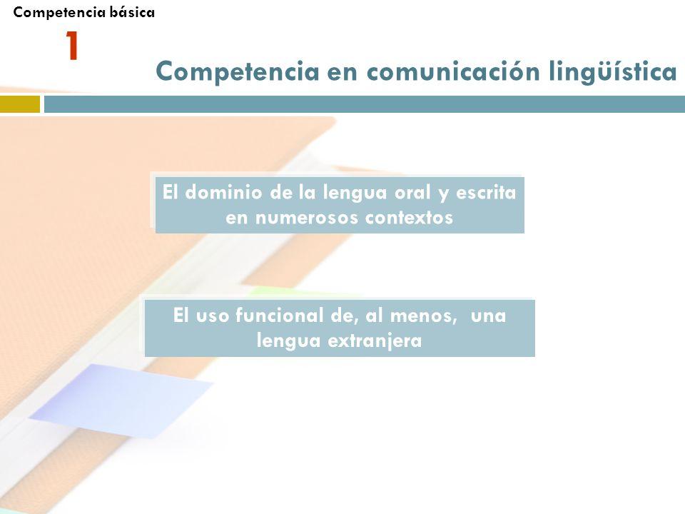 Competencia en comunicación lingüística El dominio de la lengua oral y escrita en numerosos contextos El uso funcional de, al menos, una lengua extran