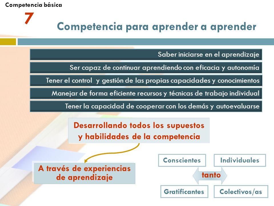 Competencia para aprender a aprender Saber iniciarse en el aprendizaje Ser capaz de continuar aprendiendo con eficacia y autonomía Tener la capacidad