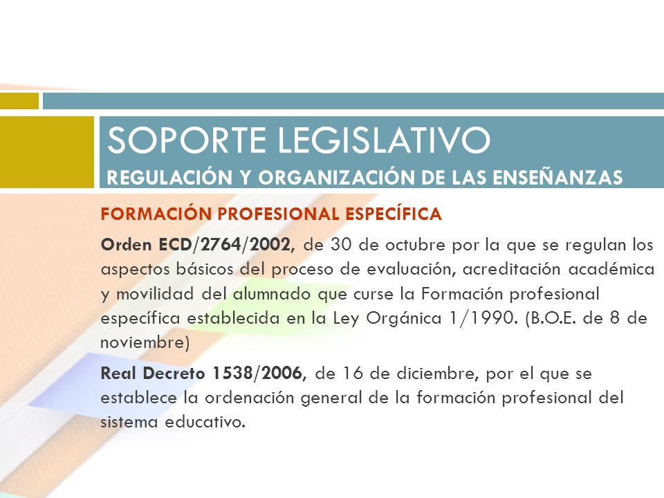 FORMACIÓN PROFESIONAL ESPECÍFICA Orden ECD/2764/2002, de 30 de octubre por la que se regulan los aspectos básicos del proceso de evaluación, acreditac