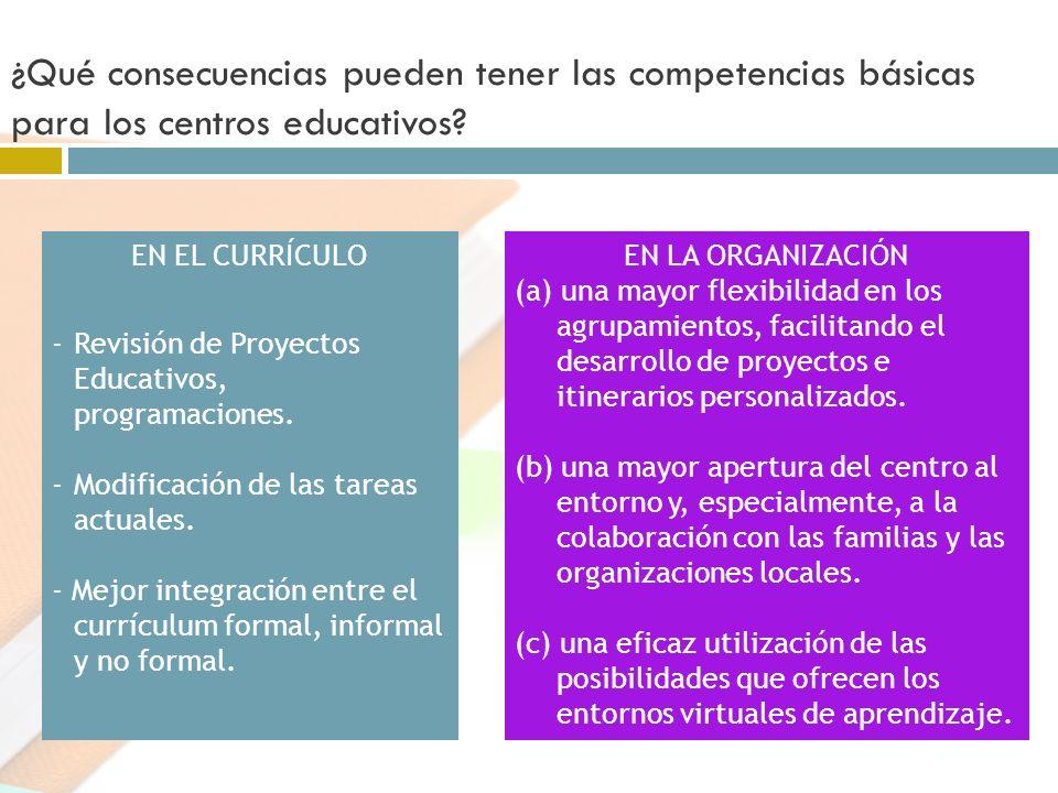 ¿Qué consecuencias pueden tener las competencias básicas para los centros educativos? EN EL CURRÍCULO -Revisión de Proyectos Educativos, programacione