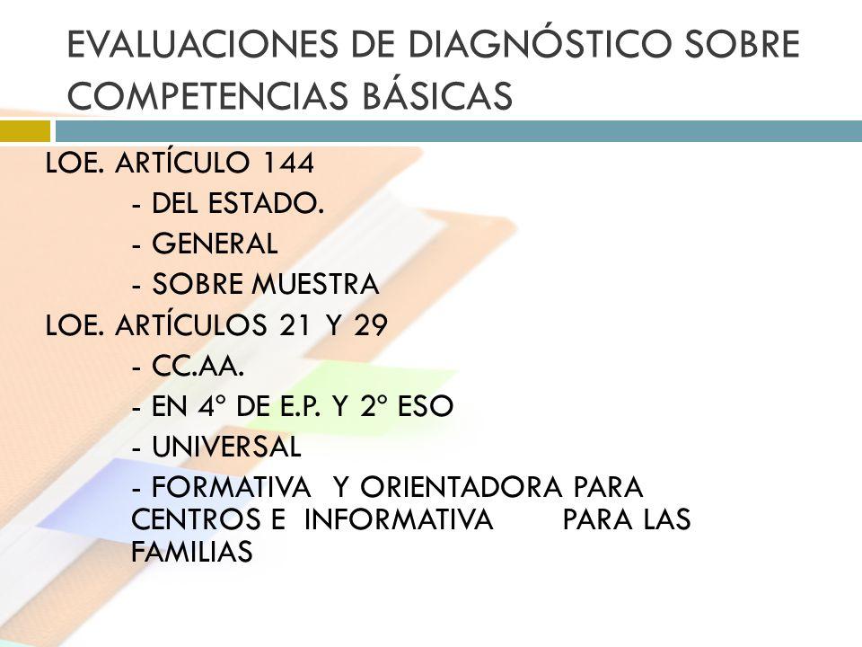 EVALUACIONES DE DIAGNÓSTICO SOBRE COMPETENCIAS BÁSICAS LOE. ARTÍCULO 144 - DEL ESTADO. - GENERAL - SOBRE MUESTRA LOE. ARTÍCULOS 21 Y 29 - CC.AA. - EN