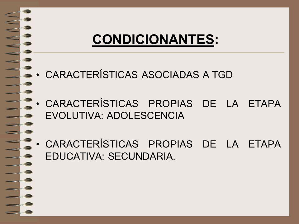 CONDICIONANTES: CARACTERÍSTICAS ASOCIADAS A TGD CARACTERÍSTICAS PROPIAS DE LA ETAPA EVOLUTIVA: ADOLESCENCIA CARACTERÍSTICAS PROPIAS DE LA ETAPA EDUCAT