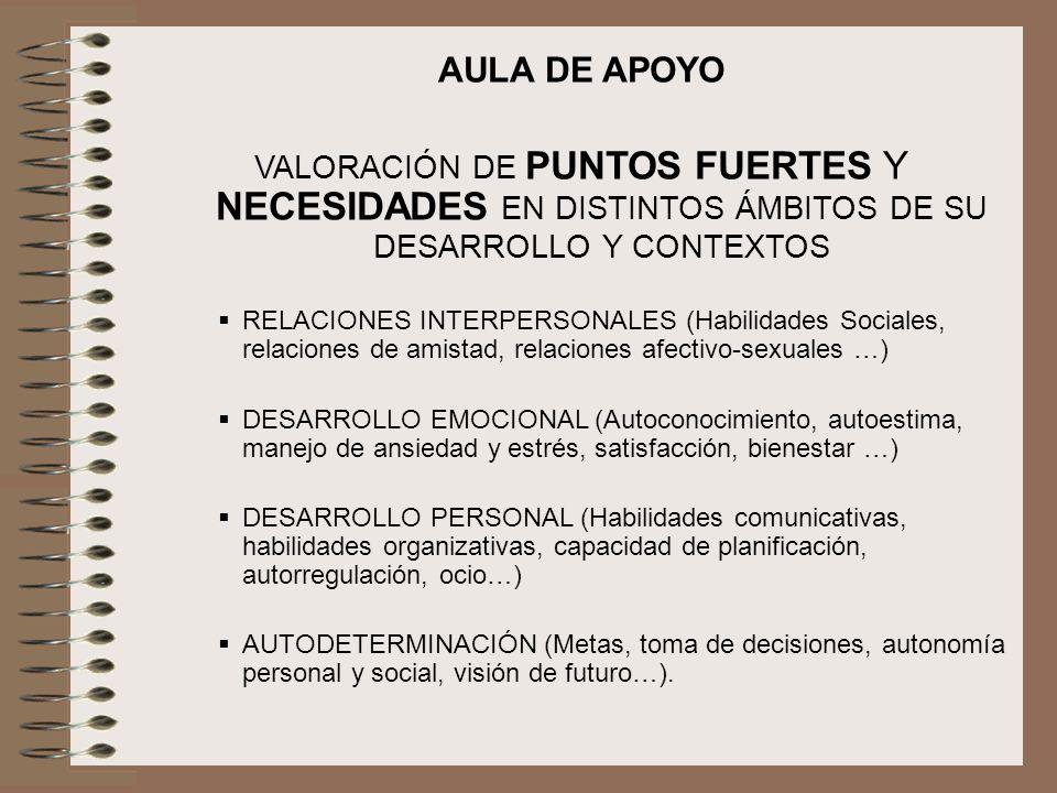 AULA DE APOYO VALORACIÓN DE PUNTOS FUERTES Y NECESIDADES EN DISTINTOS ÁMBITOS DE SU DESARROLLO Y CONTEXTOS RELACIONES INTERPERSONALES (Habilidades Soc