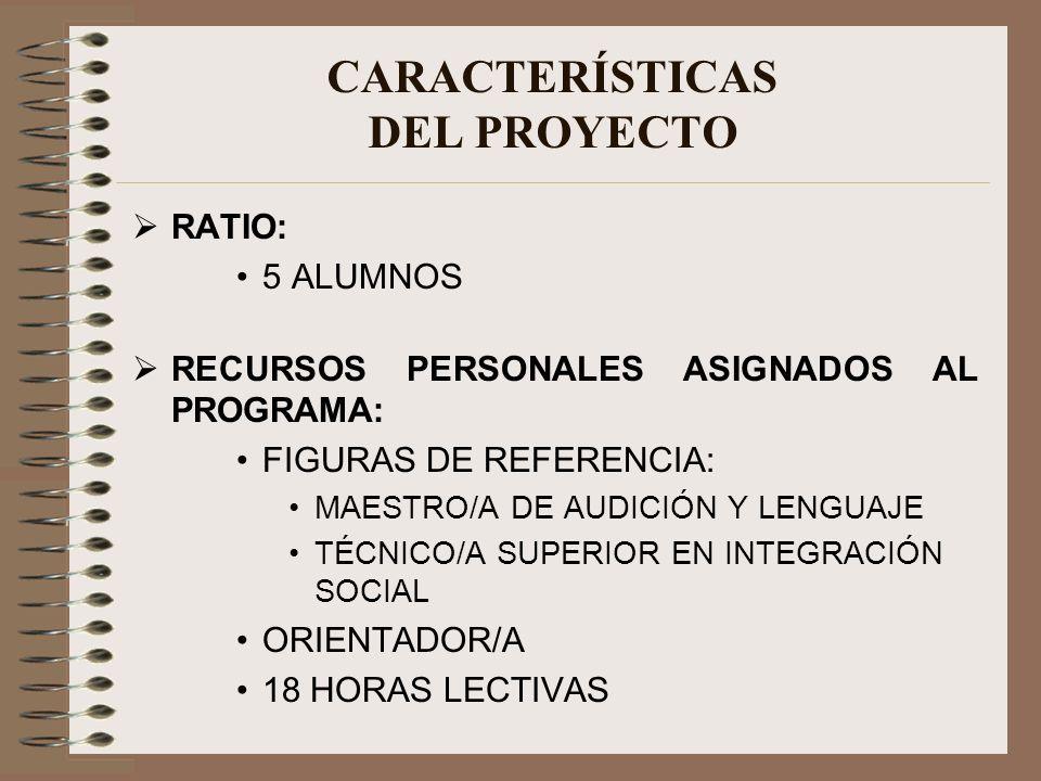 RATIO: 5 ALUMNOS RECURSOS PERSONALES ASIGNADOS AL PROGRAMA: FIGURAS DE REFERENCIA: MAESTRO/A DE AUDICIÓN Y LENGUAJE TÉCNICO/A SUPERIOR EN INTEGRACIÓN