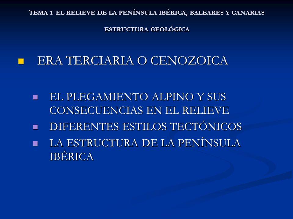 ERA TERCIARIA O CENOZOICA ERA TERCIARIA O CENOZOICA EL PLEGAMIENTO ALPINO Y SUS CONSECUENCIAS EN EL RELIEVE EL PLEGAMIENTO ALPINO Y SUS CONSECUENCIAS EN EL RELIEVE DIFERENTES ESTILOS TECTÓNICOS DIFERENTES ESTILOS TECTÓNICOS LA ESTRUCTURA DE LA PENÍNSULA IBÉRICA LA ESTRUCTURA DE LA PENÍNSULA IBÉRICA