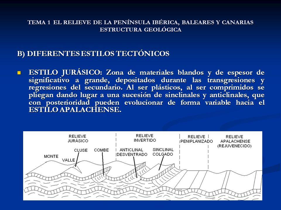 TEMA 1 EL RELIEVE DE LA PENÍNSULA IBÉRICA, BALEARES Y CANARIAS ESTRUCTURA GEOLÓGICA B) DIFERENTES ESTILOS TECTÓNICOS ESTILO JURÁSICO: Zona de materiales blandos y de espesor de significativo a grande, depositados durante las transgresiones y regresiones del secundario.