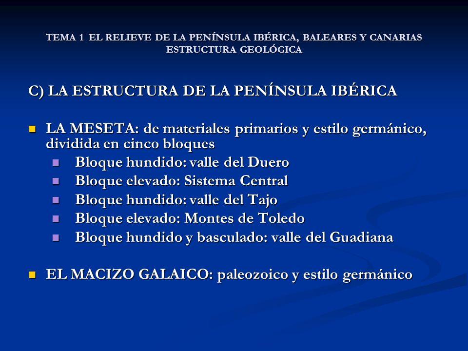 TEMA 1 EL RELIEVE DE LA PENÍNSULA IBÉRICA, BALEARES Y CANARIAS ESTRUCTURA GEOLÓGICA C) LA ESTRUCTURA DE LA PENÍNSULA IBÉRICA LA MESETA: de materiales primarios y estilo germánico, dividida en cinco bloques LA MESETA: de materiales primarios y estilo germánico, dividida en cinco bloques Bloque hundido: valle del Duero Bloque hundido: valle del Duero Bloque elevado: Sistema Central Bloque elevado: Sistema Central Bloque hundido: valle del Tajo Bloque hundido: valle del Tajo Bloque elevado: Montes de Toledo Bloque elevado: Montes de Toledo Bloque hundido y basculado: valle del Guadiana Bloque hundido y basculado: valle del Guadiana EL MACIZO GALAICO: paleozoico y estilo germánico EL MACIZO GALAICO: paleozoico y estilo germánico